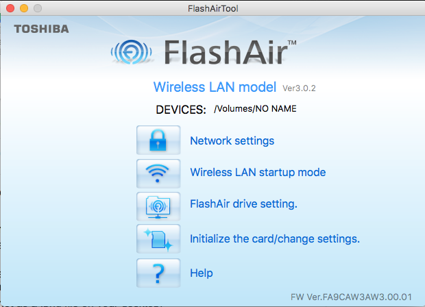 FlashAir Tool Main Menu