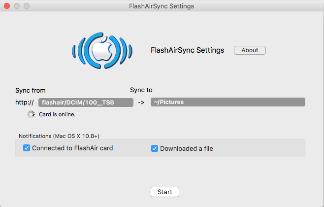 FlashAirSync Settings